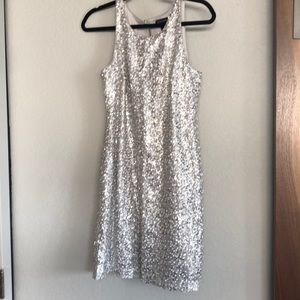 WHBM silver white sequin shift dress
